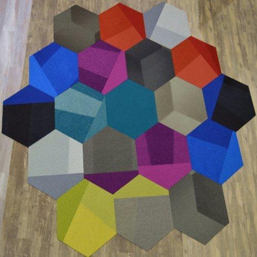 Hexagon Assorted Hexagon Discount Carpet Tile